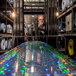 Holographic material being picked up by a forklift