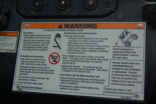 ATV Machine Warning Label